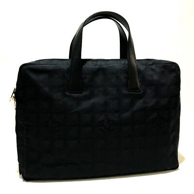 127190fb38e03 AUTHENTIC CHANEL Hand Bag New travel line Hand bag Black Nylon x Leather  A15974