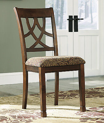 Solid Wood Upholstered Dining Chair Vintage Country Brown Cherry Set of 2 Seat