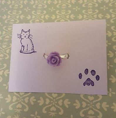 Handmade lilac purple rose silver plated adjustable ring