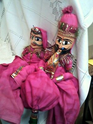 Two Traditional Indian Wooden Puppets