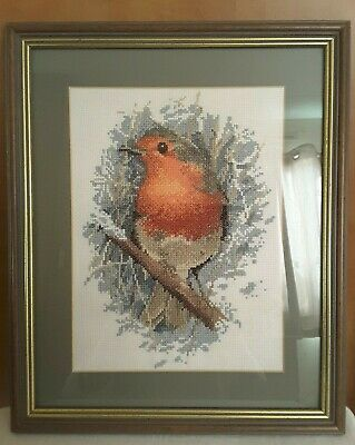 Completed Needlepoint Tapestry Framed Picture Robin Sitting on Branch