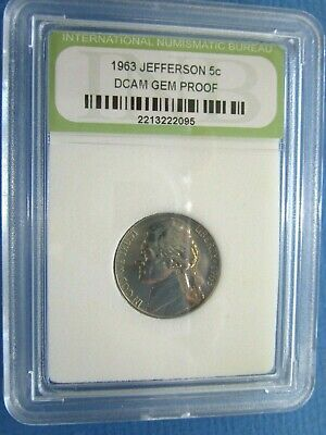 1963 USA CASED Cameo Proof Jefferson Nickel - Five Cent Coin
