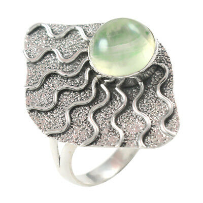 925 Solid Sterling Natural Prehnite Silver Designer Jewelry Ring Size 9 In-2296 Beautiful In Colour Jewelry & Watches
