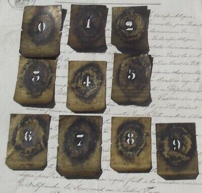Antique French Printing Stencil Brass Press Number Print set