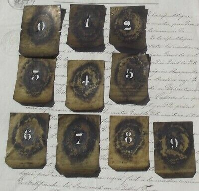 RESERVED for F Antique French Printing Stencil Brass Press Number Print set