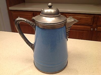 Vintage Enamelware/ Graniteware Germany Coffee Pot Blue W/ White Speckles Metal