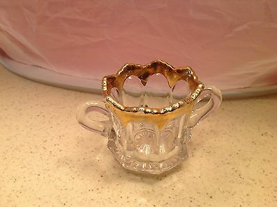 Vintage Clear Glass W/ Gold Accent Toothpick HOlder Double Handle Very NIce