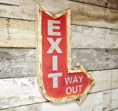 Exit Sign Wall Light LED Way Out Bar Hanging Plaque Lighting American Diner New