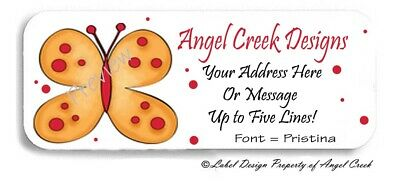 Red Polka Dots Golden Butterfly Personalized Return Address Labels