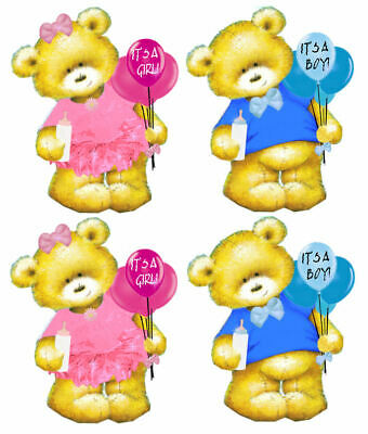 Baby it/'s a girl or it/'s a boy teddy bear craft card toppers for card making x5