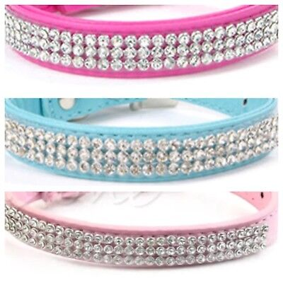 Puppy Dog Collar Baby Pink, Hot Pink, Blue Sparkling Diamante Crystal Bling New!