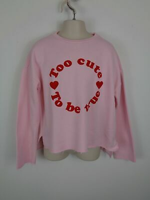 Girls Zara Pink/Red Spellout Pattern Long Sleeved Crew Neck Jumper Uk Age 10 Yrs