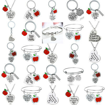 Teacher Apple Personalized Pendant Necklace Keychains Thank You Gift Teachers