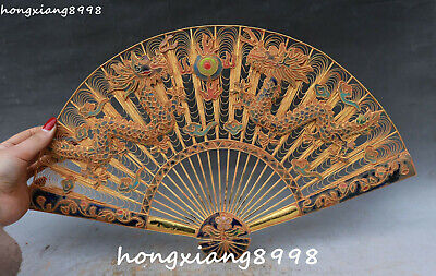 """16""""Old Chinese Bronze Gilt Filigree 2 Dragon Dragons Loong Play Ball Fan Statue"""