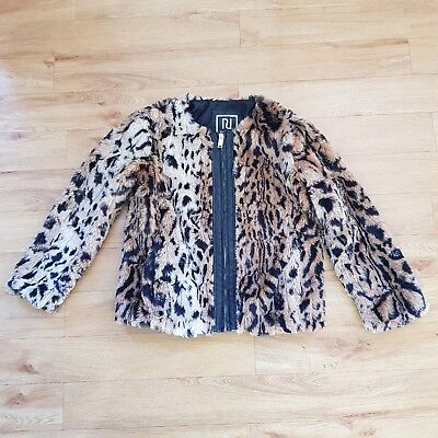 River Island Faux Fur Coat Leopard Print Animal Girls 12 Years