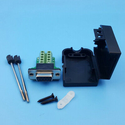 CN_ D-SUB DB9 Female 9Pin Black Cover Screw Type Breakout Terminals Connector