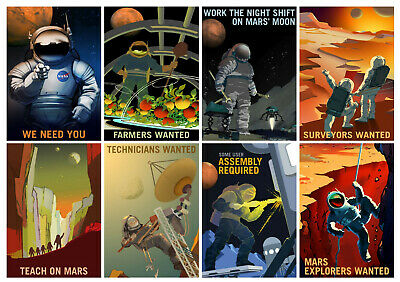 Space Posters - Mars Job Recruitment - Set of 8 Posters - NASA - A4 Wall Art