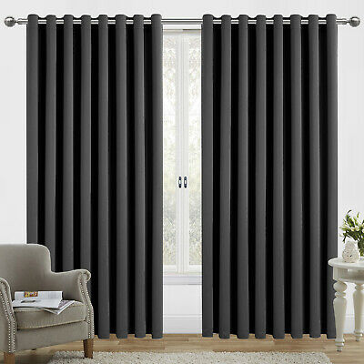 "Thermal Blackout Living Room Extra Wide Eyelet Curtains Panel + Tiebacks 66""x54"""