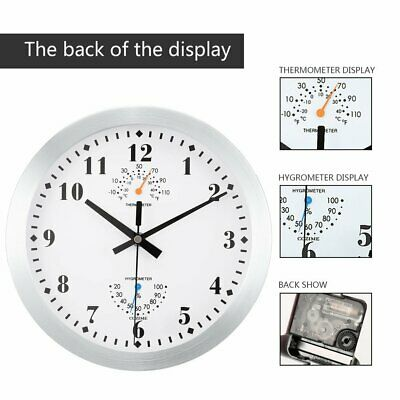 10'' Round Wall Clock Metal Frame Hygrometer Thermometer Precision NN