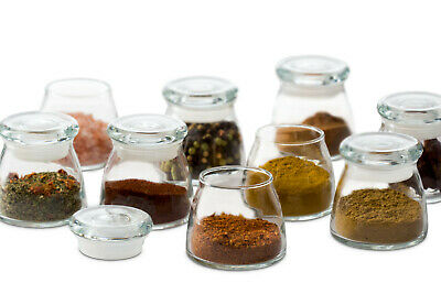 Libbey Vibe Mini Glass Jars Lids Set of 12 Spice Seasonings Condiments Container
