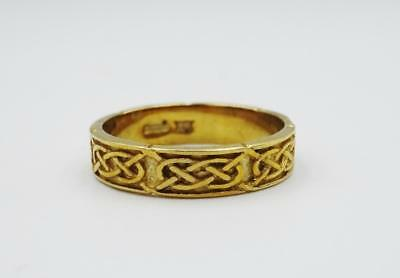9ct Yellow Gold Fine Detailed Ladies Celtic Wedding Band 2.7g 4mm Size N