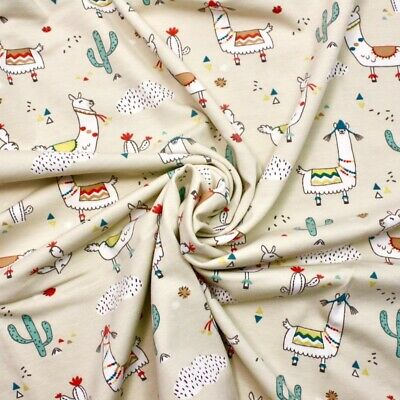 Lima Llama Natural JERSEY - 100% Cotton Fabric Childen Quilting