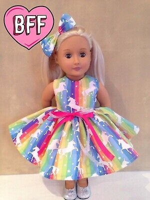 """18"""" Dolls clothes for Our Generation Doll. Dolls Unicorn Dress. Doll Outfit."""