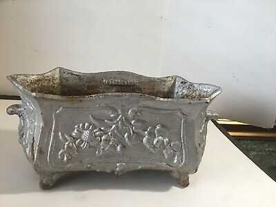 "French Antique Cast Iron  Planter/Jardiniere/ Urn 14"" Wide Preowned"