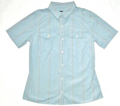 NWT women's PATAGONIA button front UPF 40 striped shirt camp hike blue gray 8 10