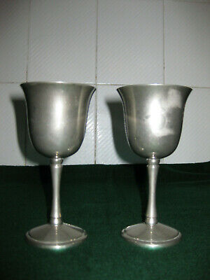 Pair of silver coloured wine goblets