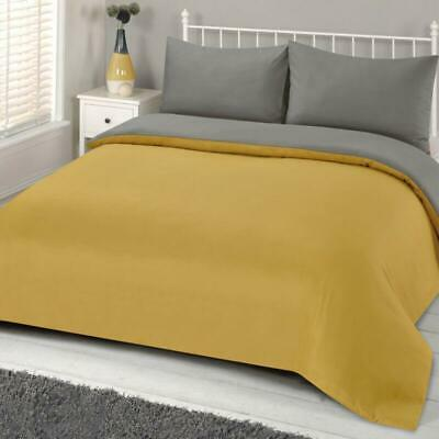 Reversible Ochre Print Grey Duvet Bed Cover With Pillowcase Linen Set Polyester