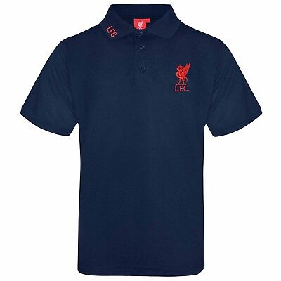 Official Liverpool FC Crest Football Polo Shirt (Adults Sizes S to 3XL) Navy