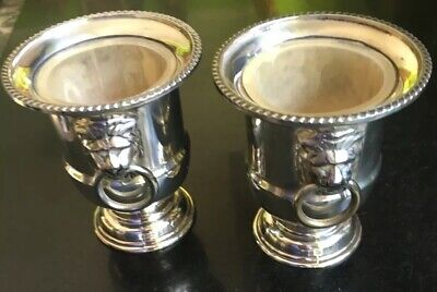 2 X Silver Plated Urn - Lion Head - Toothpick Holder - Egg Cup