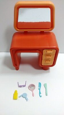 1977 Barbie Dream House Vanity Orange with 6 Accessories Mirror Hair Dryer Comb