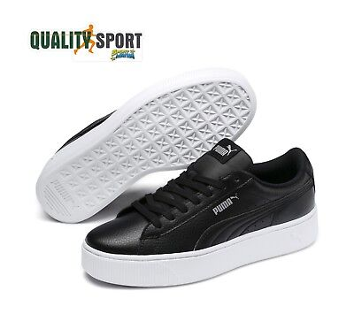 0a7a8f8348 Puma Vikky Stacked Leather Noir Chaussures pour Femmes Sportif Baskets  369143 01
