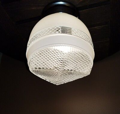 Vtg Art Deco Frosted/Clear Glass Shade Ceiling Light Fixture Chandelier