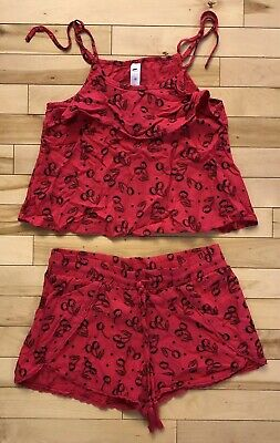 Justice Girls Sz 10 Pink Black Cherry Print Tank Top Shorts Outfit Summer