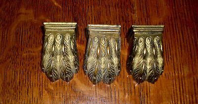 ( # 210 Set Of 3 Small Cast Solid Brass Lions Paw For Duncan Phyfe Table Legs