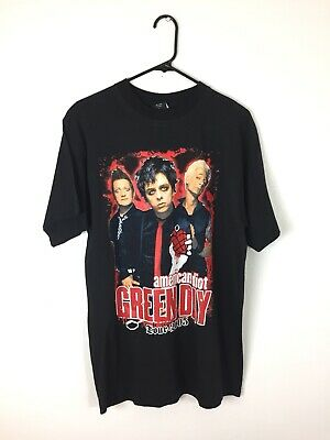 Vintage 2005 Green Day American Idiot Tour Sz L Black Band Merch Rock Rare