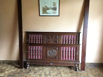 French antique vintage Breton style double bed.