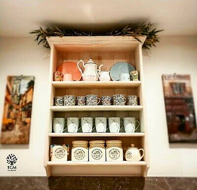 Wall Cupboard With Shelves |Solid Pine Wall Cabinet | Kitchen Vintage Wall Unit