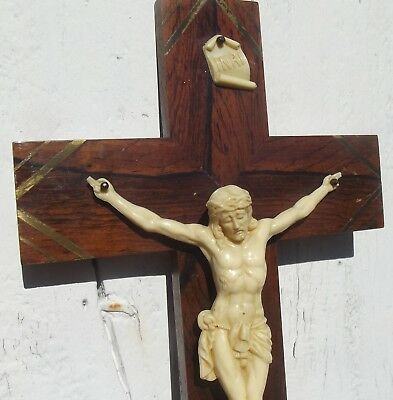 Antique French Cross 1930s Bakelite rosewood Crucifix Wooden Wall shrine