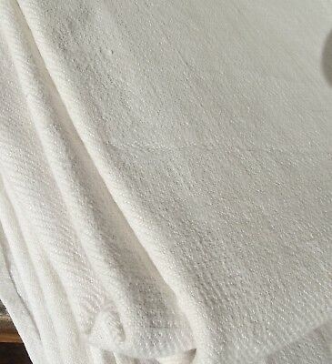 Vintage French Dowry Linen Twill Weave Cloth Fabric Material