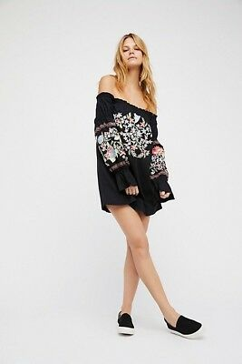 NWT Free People Enchanted Garden Embroidered Off Shoulder Mini Dress Sz S Small