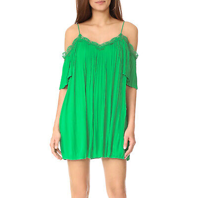 0263945a Alice + Olivia New Mimi Cold Shoulder Pleated Dress Kelly Green Large
