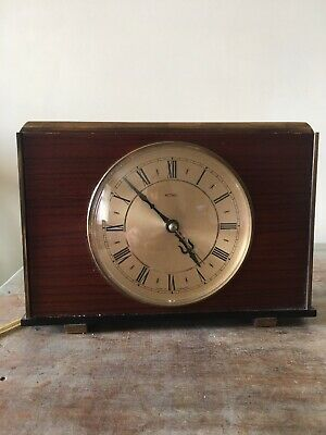 Metamec Electric Mantle Clock Mid Century 1950s Wood & Brass With Roman Numerals