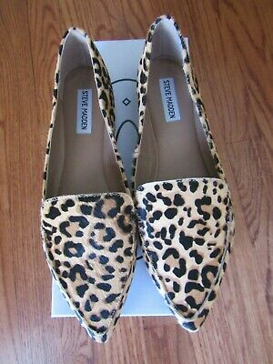 04a0055aa0d0 Steve Madden FEATHER-L LEOPARD Women Fashion Slip On Pointy Toe Loafers  Size 10