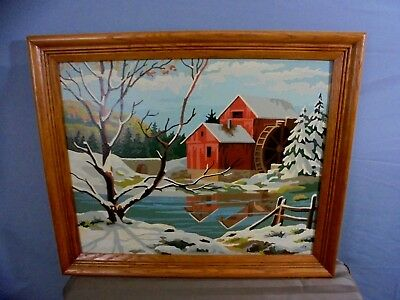 "Vintage 1950's Signed LEH Framed Water Wheel Mill Landscape Oil Painting 23""x19"""