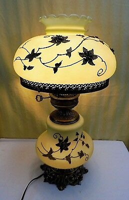 """Vintage 3 way Hollywood Ornate Glass & Brass Floral Electric Parlor Lamp 22"""""""