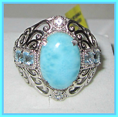 Larimar  Sky Blue Topaz  TGW10 cts  Ring Platinum Sterling Silver 925 sz 9